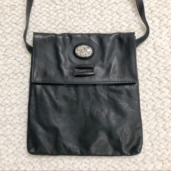 Breezy Mountain Leather Crossbody Black Bag